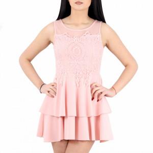 Rochie Lucie Pink - Rochie roz elegantă cu material dantelat, pune-ți silueta în evidență și atrage toate privirile - Deppo.ro