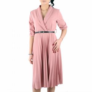Rochie Plisată Roz Pudră