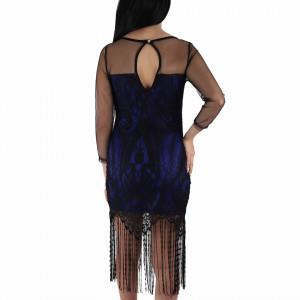 Rochie Senia Blue - Rochie elegantă cu un decolteu acoperit cu plasă neagră dantelată, pune-ți silueta în evidență și atrage toate privirile - Deppo.ro