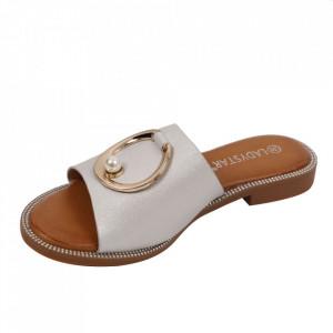 Saboți pentru dame cod W23-31 White - Pantofi cu un model, foarte confortabili potriviți pentru birou sau evenimente speciale. - Deppo.ro