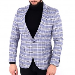 Sacou Connor Grey - Sacou din bumbac 100%, în carouri, ideal pentru o ținută casual de zi care poate fii purtat atât cu cămașă cât și cu helancă - Deppo.ro