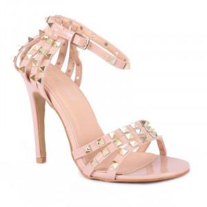 Sandale cod HF780 Roz - Sandale elegante din piele ecologică lăcuită - Deppo.ro
