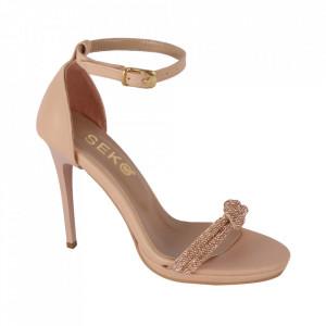 Sandale din piele ecologică cod RS Beige