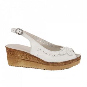 Sandale din piele naturală pentru dame cod 65706 Alb