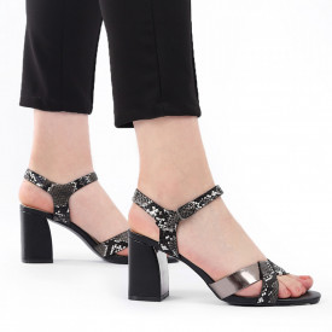 Sandale pentru dame cod Z10 Black - Sandale pentru dama din piele ecologică  Închidere prin baretă  Calapod comod - Deppo.ro