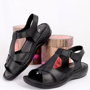 Sandale pentru dame din piele naturală cod 090 Negru