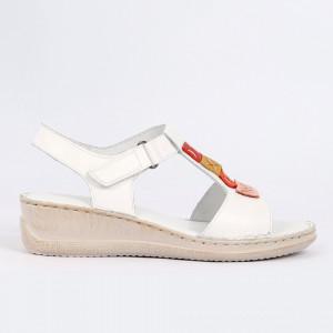 Sandale pentru dame din piele naturală cod 168850 White - Sandale pentru dama din piele naturală  Model decorativ în partea din față  Închidere prin baretă  Calapod comod - Deppo.ro