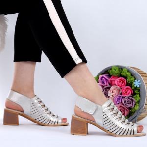 Sandale pentru dame din piele naturală cod P41S Silver - Sandale pentru dama din piele naturală  Închidere prin scai  Calapod comod - Deppo.ro