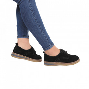 Pantofi din piele naturală cod 65521 Negri