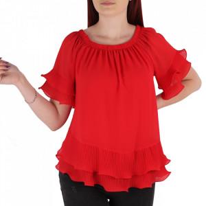 Bluză pentru dame tip cămășuță cod 19025 Red