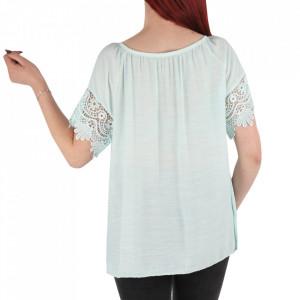 Bluză pentru dame tip cămășuță cod 91071 ABS Deschis - Bluză tip cămășuță pentru dame  Model decorativ cu dantelă  Prindere cu șnur în partea de sus - Deppo.ro