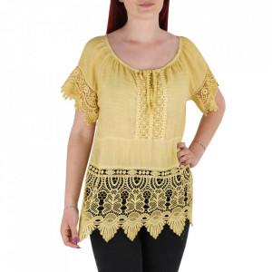 Bluză pentru dame tip cămășuță cod 91071 Yellow