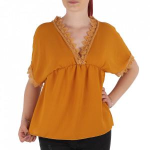 Bluză pentru dame tip cămășuță cod ZBB2 Mustariu