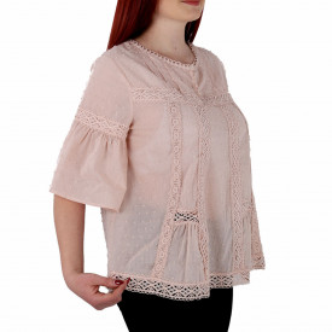 Bluziță tip iie simplă roz Alisa - Bluziță tip ie simplă, un design tradițional care poate fii purtată atât cu o pereche de pantaloni lungi cât și la o fustiță - Deppo.ro