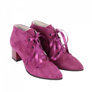 Botine din piele naturală cod 9150 Pink - Botine cu toc din piele naturală Închidere prin șiret Model deosebit de frumos - Deppo.ro