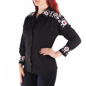 Cămașă pentru dame cod CSM8 Negru - Cămașăpentru dame Model decorativ floral - Deppo.ro