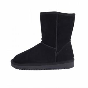 Cizme din piele naturală cod BB2 Albastru - Cizme tip UG din piele ecologică întoarsă îmblănite ideale pentru sezonul rece - Deppo.ro