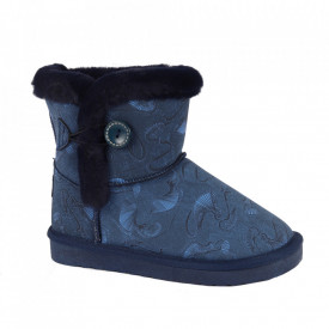 Cizme pentru fete cod N223 Navy - Cizme din piele ecologică de înaltă calitate cu înterior îmblănit, foarte confortabil cu un calapod comod - Deppo.ro