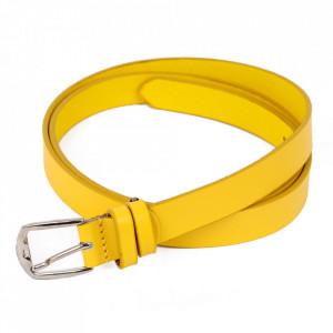 Curea din piele naturală galbenă pentru dame C007 - Curea din piele naturală pentru dame ideală de asortat la o tinuta sport-casual - Deppo.ro