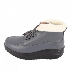 Ghete din piele naturală cod A603-2 Grey - Ghete din piele naturală cu inchidere prin șiret și talpă flexibilă. - Deppo.ro