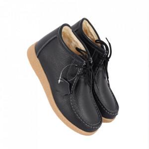 Ghete din piele naturală cod PL-9602-2 Black - Ghete din piele naturală cu inchidere prin scai, stil casual. - Deppo.ro
