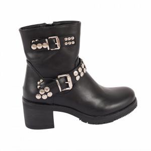 Ghete pentru dame cod K16 Negre - Ghete din piele ecologică cu vârf rotund și decorațiuni metalice - Deppo.ro