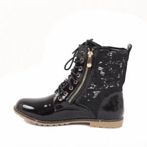 Ghete pentru dame cod SK03A Negre - Ghete din piele ecologică cu un model în stil texan - Deppo.ro