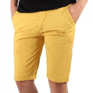 Pantaloni scurți pentru bărbați cod KS22-145 Yellow - Pantaloni  casual pentru bărbați din material ușor elastic, de culoare galbenă - Deppo.ro