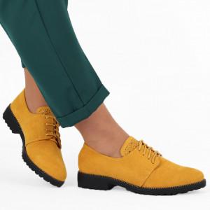 Pantofi cod F17 Galbeni - Pantofi pentru dame, din piele ecologica întoarsă, cu închidere prin șiret - Deppo.ro