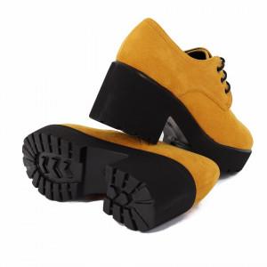 Pantofi cod XH02 Galbeni - Pantofi pentru dame, din piele ecologica întoarsă cu închidere prin șiret - Deppo.ro
