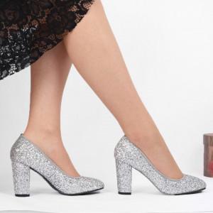 Pantofi cu toc cod 540414F Arginti