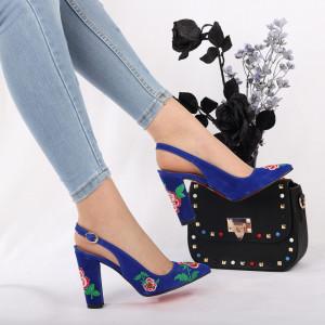 Pantofi cu toc cod 7706 Albaștri