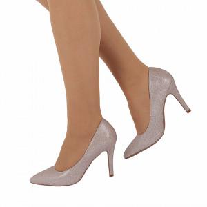 Pantofi Cu Toc cod B5505 Champagne - Pantofi cu toc ascuțit din piele ecologică cu glitter, fii in pas cu moda si străluceste la urmatoarea petrecere. - Deppo.ro