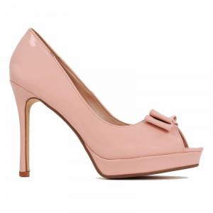 Pantofi cu toc cod BJ16601B Nude - Pantofi cu toc înalt și platformă, din piele ecologică lăcuită de înalta calitate - Deppo.ro