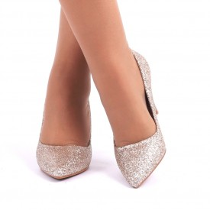 Pantofi cu toc cod C57 Auri - Pantofi cu vârf ascuţit şi toc subţire din piele ecologică, foarte confortabili cu un calapod comod - Deppo.ro