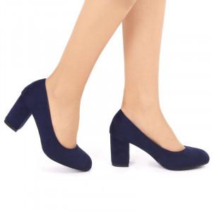 Pantofi cu toc cod EK0008 Bleumarin