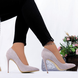 Pantofi cu toc cod EK0014 Purple
