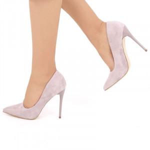Pantofi cu toc cod EK0033 Purple - Pantofi din piele ecologică intoarsă cu vârf subțire, confortul purtării este sporit de tălpicul din piele ecologică - Deppo.ro