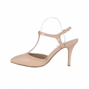 Pantofi cu toc cod LT65 Bej - Pantofi albi decupați cu vârf și toc ascuțit din piele ecologică, foarte confortabili cu un calapod comod - Deppo.ro