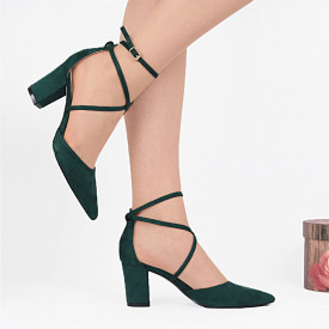 Pantofi cu toc cod NA43 Verzi - Pantofi cu toc din piele ecologică întoarsă cu închidere prin baretă   Fii în pas cu moda şi străluceşte la următoarea petrecere. - Deppo.ro