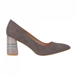 Pantofi cu toc cod OD0204 Grey