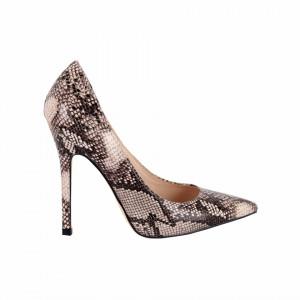 Pantofi cu toc cod Q182471 Bej - Pantofi din piele ecologică, cu vârf ascuţit şi toc subţire, foarte confortabili cu un calapod comod - Deppo.ro