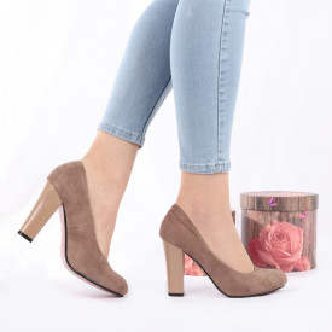 Pantofi cu toc cod RZ25 Lilah - Pantofi cu toc gros și vârf rotund din piele ecologică întoarsă, foarte confortabili potriviți pentru birou sau evenimente speciale. - Deppo.ro