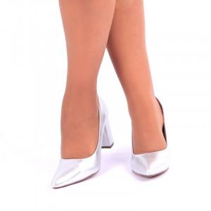 Pantofi cu toc cod S2212 Arginti - Pantofi cu vârf ascuțit şi toc gros din piele ecologică, foarte confortabili potriviți pentru orice eveniment - Deppo.ro
