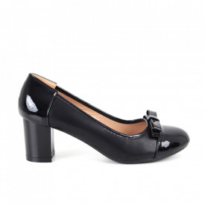 Pantofi cu toc din piele ecologică cod C-97 Black