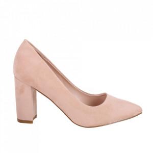 Pantofi cu toc din piele ecologică cod OD0133 Beige