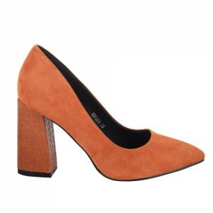 Pantofi cu toc din piele ecologică întoarsă cod OD0264 Camel