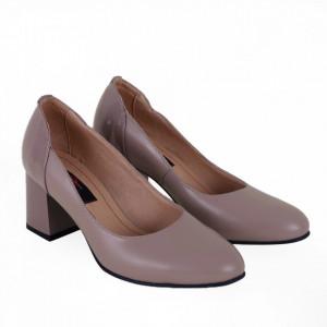 Pantofi cu toc din piele naturală cod 1049 Cafeniu Lac