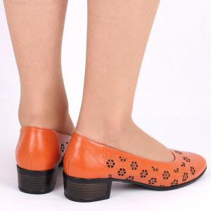 Pantofi cu toc din piele naturală Cod 1141 Portocali - Pantofi cu toc din piele naturală moale, foarte comozi, acești pantofi vă conferă lejeritate și eleganță - Deppo.ro