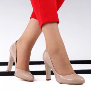 Pantofi cu toc din piele naturală cod 4117 Bej - Pantofi cu toc din piele naturală Acești pantofi vă conferă lejeritate și eleganță - Deppo.ro